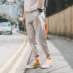 2018夏季新款男士休闲裤九分裤子男韩版潮流宽松束脚裤薄款哈伦裤