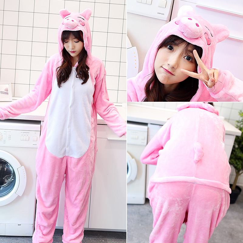 Flannel pajamas, black pigs, home animals, cartoon, autumn and winter, men and women, long sleeve flannel, toilet version