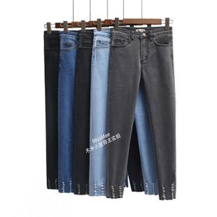 女装破洞弹力牛仔铅笔小脚裤显瘦高腰胖m9分裤学生修身时尚韩版裤