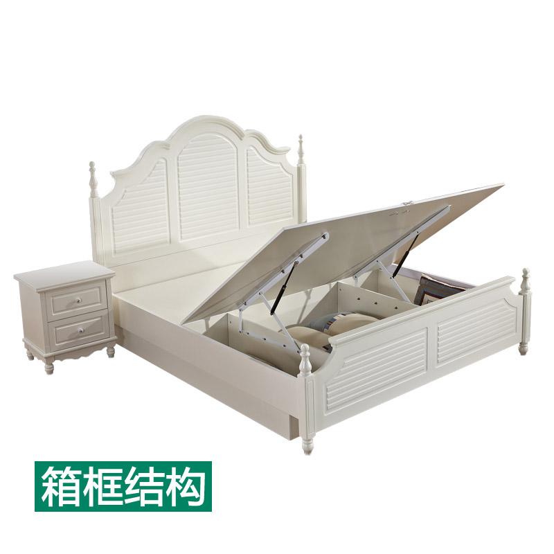 Cajas de arroz americano 1.8 la cama doble de madera maciza Europea francés 1.5 almacenamiento coreano Pastoral de la princesa de la cama con cama de matrimonio
