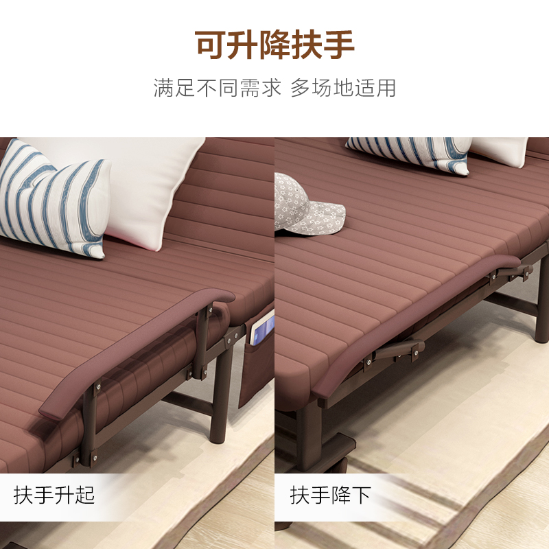 Folding bed, single bed, simple wooden lunch bed for adults, children's household board, economic double bed
