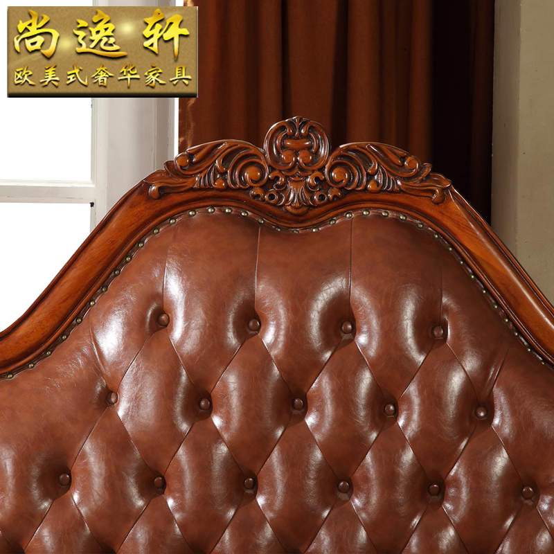 European style leather bed, 1.8 meters solid wood bed, double bed with soft bed, American style bed, master bedroom, wedding bed, dark bed