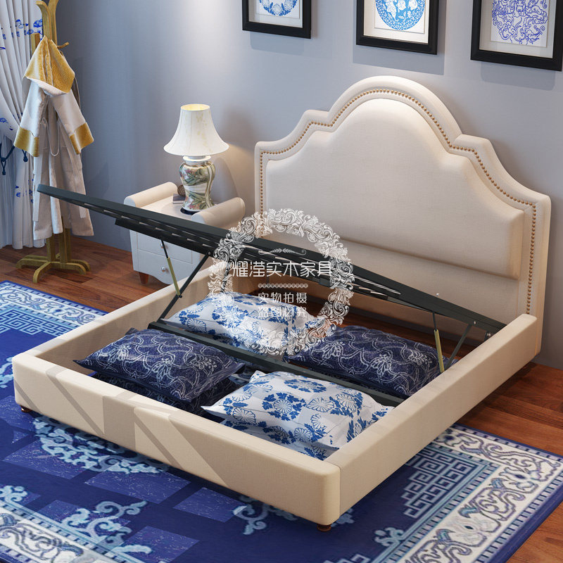 American Rural fabric box with hydraulic bed, modern minimalist fashion, storage double bed, bedroom marriage bed customization