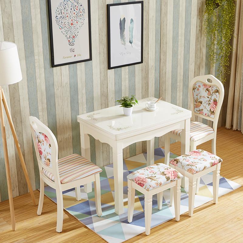 Verre trempé spécial américain de la Méditerranée de petite taille télescopique de tables et de chaises en bois massif des sous - combinaisons de pliage de table