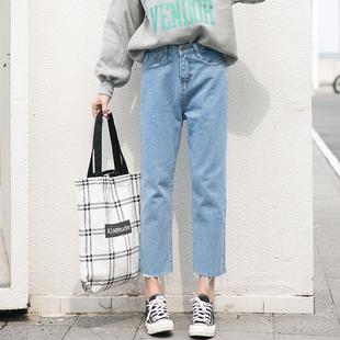 113/秋冬新款 可以说性价比很高了 牛仔裤女高腰九分宽松直筒裤
