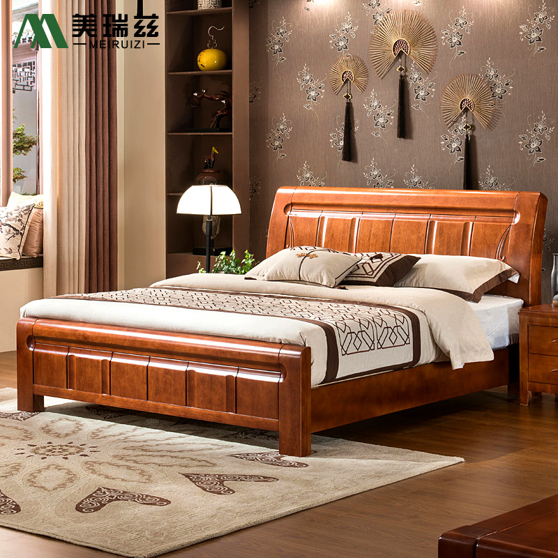 The new Chinese 1.5/1.8 m 100% pure solid oak wooden bedroom furniture double bed protection