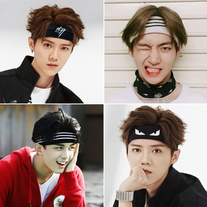 Korean male Han female sports headband decorated with short hair on the head of the new tide Plaid hair band stripe knit wide hair