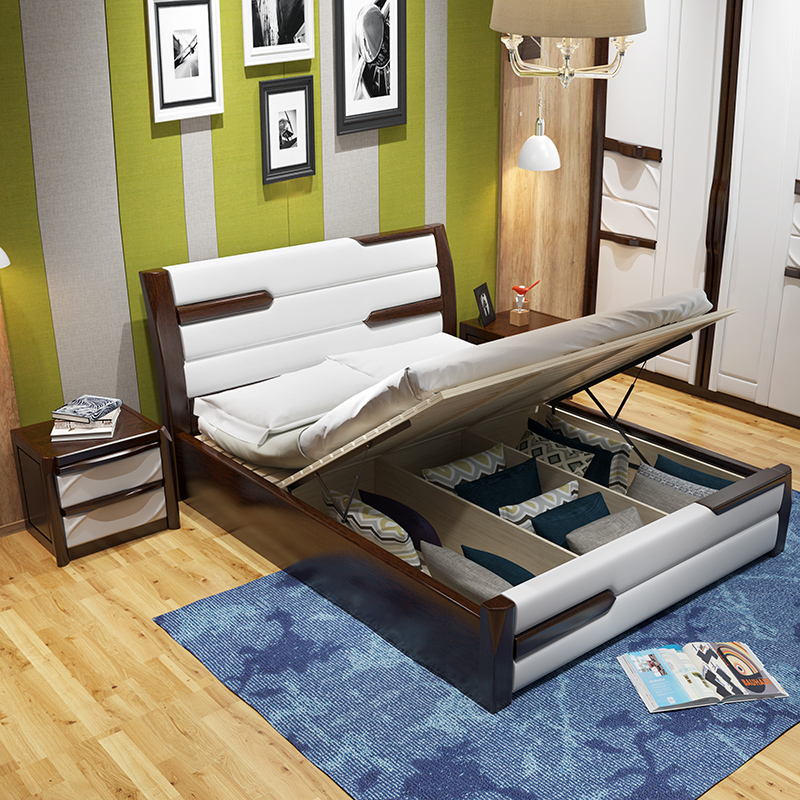 The new Chinese solid wooden oak bed 1.8 meters double bed 1.5 meters high simple bedroom bed wood box storage bed