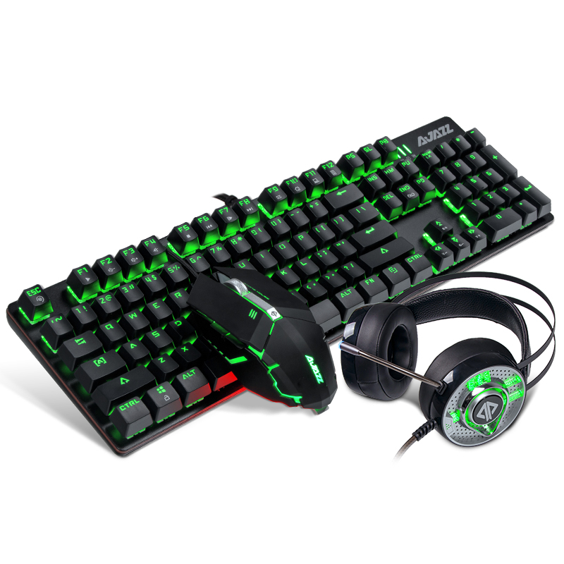 True mechanical keyboard and mouse headset three piece game computer cable metal chicken macro 1st