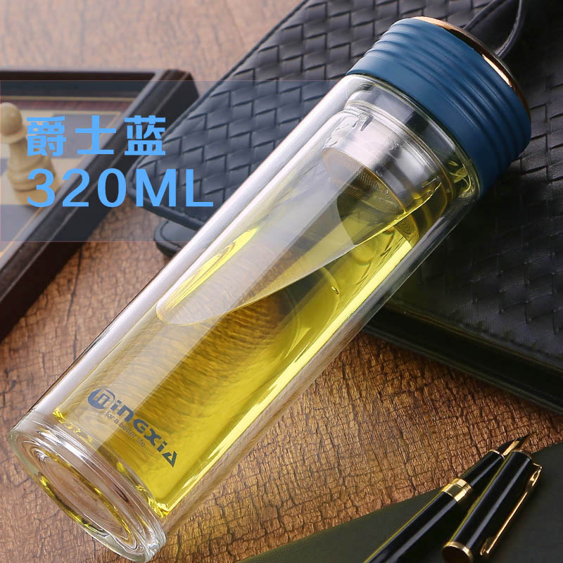 Vacuum thermos cup, double layer heat insulation transparent men and women business tea cup, portable thickening anti fall