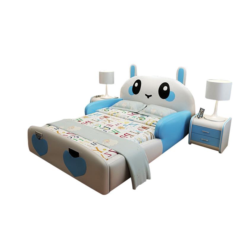 Children's bed, guardrail, leather princess, boy, girl, cartoon rabbit, creative 1.2 meters, 1.5 meters, double bed