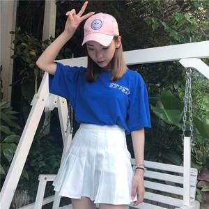 实拍夏季韩版ulzzang百搭个性文字印花bf风闺蜜装宽松短袖T恤