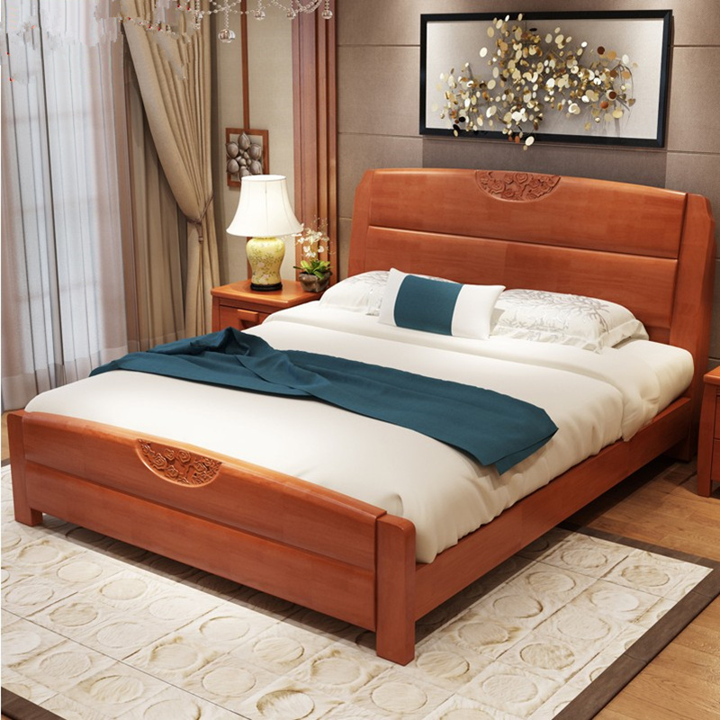 Special price solid wood bed, 1.8 meters double bed, modern simple oak bed, high box storage bed, Chinese 1.5M single bed