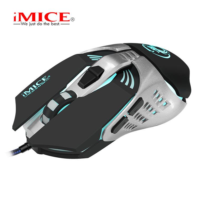 La venta directa de la fábrica IMICE marca V5 de juego del ratón USB Cable de programación del ratón opto mecánico colorida competencia lol