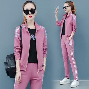 女士卫衣短袖三件套2019新款韩版时尚休闲运动套装大码宽松跑步服