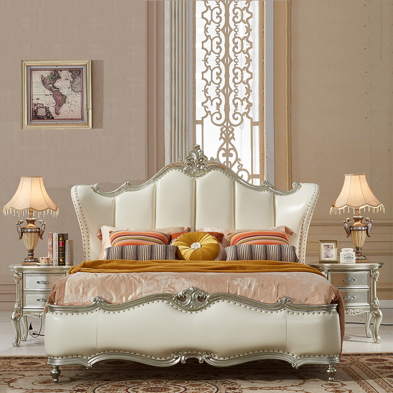 European classical leather bed Zhuwo new simple European oak wood furniture modern luxury double bed Prince 1.8 meters
