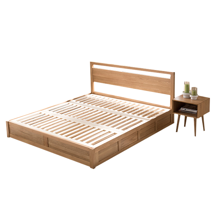 Yousen Shi Nordic solid wood high box bed storage bags double Japanese modern minimalist bar oak bed