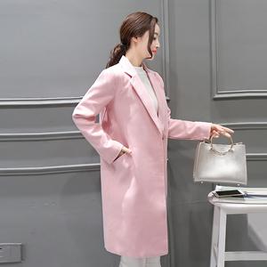 2016新款秋冬装韩版女气质显瘦中长款毛呢大衣毛呢外套潮
