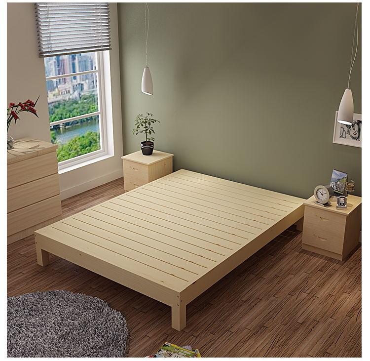 Solid wood double bed 1.81.5 meters tatami bed single bed 1.2 meters for adult bed frame