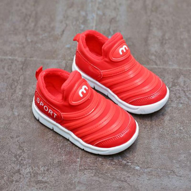 宝宝加绒运动鞋冬季新款韩版儿童休闲鞋软底豆豆鞋男童女童乐福鞋
