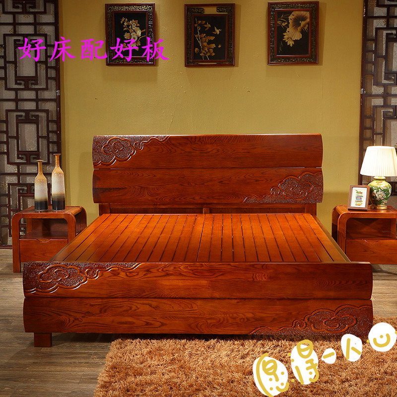 Pine hard bed folding frame, single 1.5 double, 1.8 meters widening, all solid wood thickening paint board