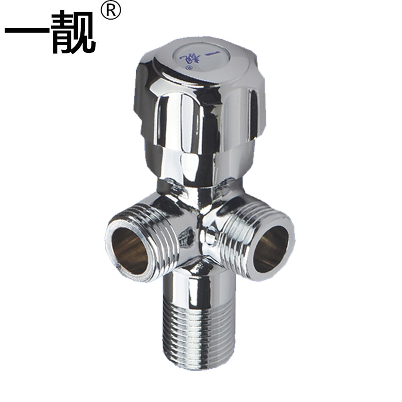 4 point one in one, two out angle valve, three-way valve, right angle triangle valve, one point and two at the same time control double outlet three way angle valve