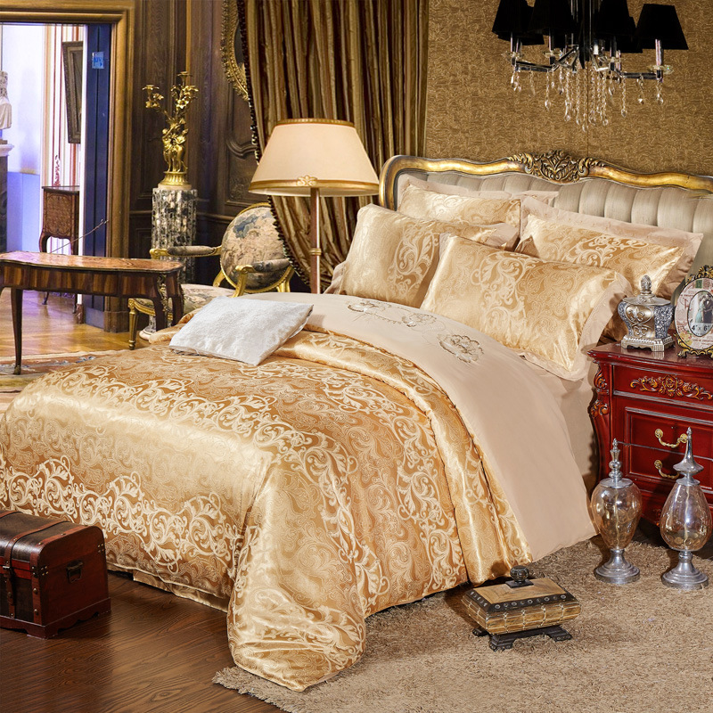 Silk Satin Jacquard bed four pieces and Cathy palace luxury style four piece suit on behalf of textile wholesale