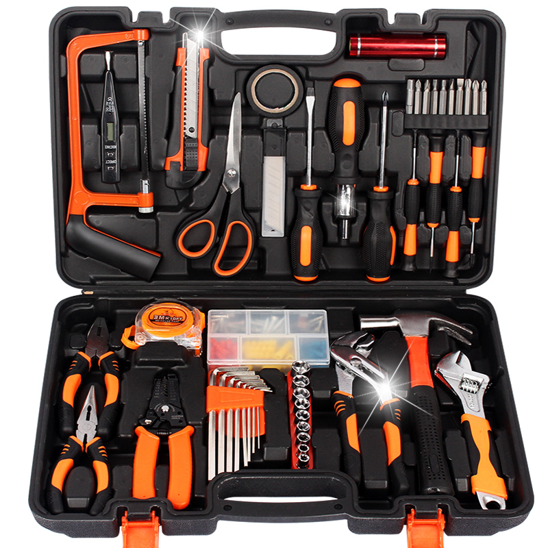 Functional hardware tools, electrician maintenance, automobile set special household toolbox kit, multi drill combination