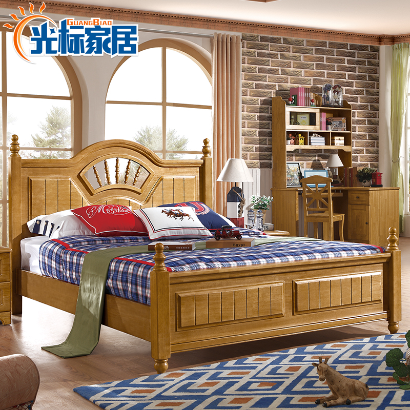 Solid oak children's bed, boys and girls, 1.5 meters boys, single beds, children's beds, simple modern children's furniture