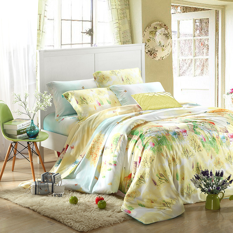 Spring and summer fresh garden style yellow green blue 1.5/1.8/2.0m four sets of single bed double bed Tencel
