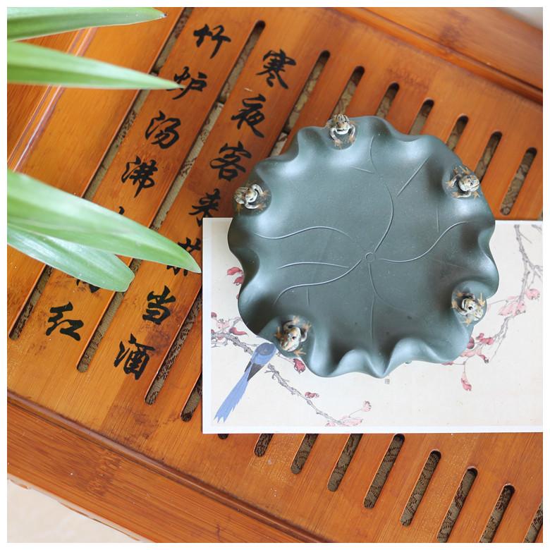 圖片色創意茶寵噴水 茶盤擺件 紫砂手工青蛙茶玩荷葉養壺墊五子登科