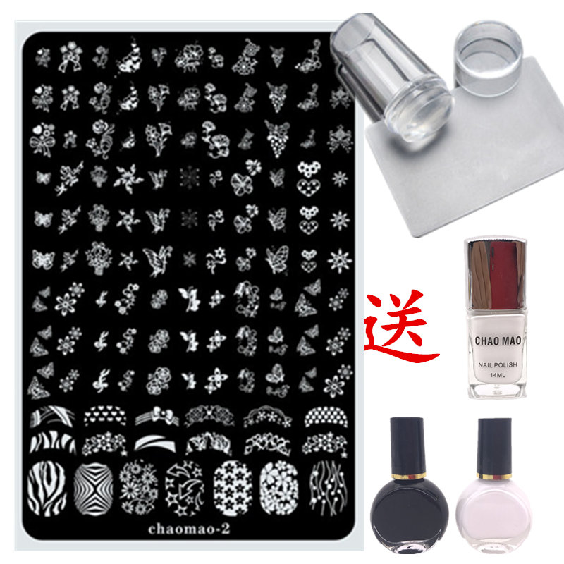 Package nail tool kit, a full set of printed board template, silicone nail polish, transparent transparent scraper for beginners