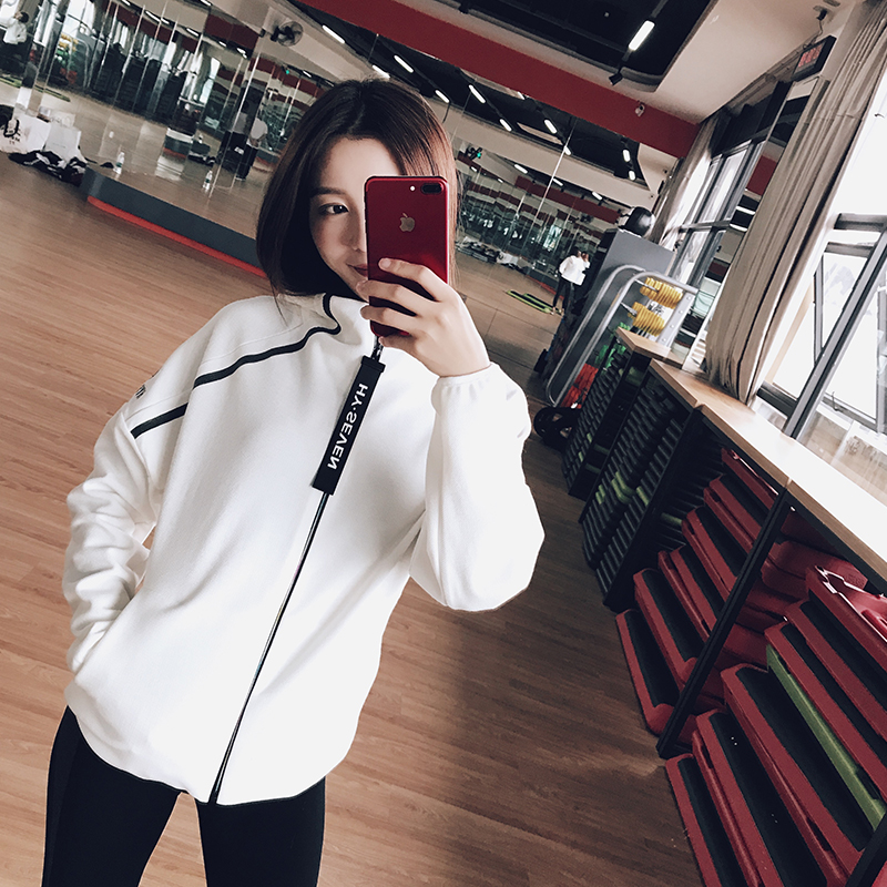 Non bank 9a11c loose hooded student sport coat jacket lady running long windproof cardigan