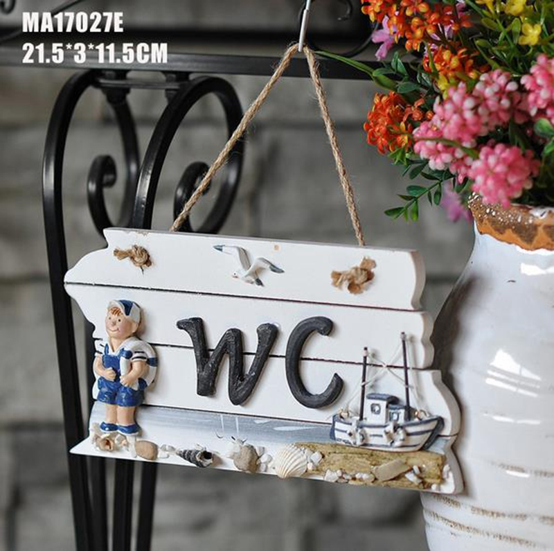 Toilet signs creative personality WC toilet-oriented wooden outdoor door pendant Mediterranean do old style