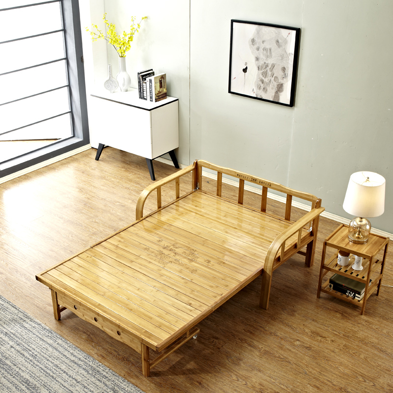 The bamboo bed folding sofa bed bed double bed single bed dual-purpose lunch nap 1.2 meters simple children's bed