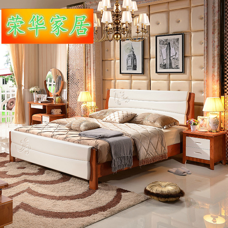 Special offer new Chinese solid wood bed 1.8 meters 1.5 meters high double bed oak box storage bed crib 1.2 meters