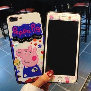 苹果iphone7plus钢化膜全屏8p手机壳玻璃彩膜6s卡通6plus可爱贴膜