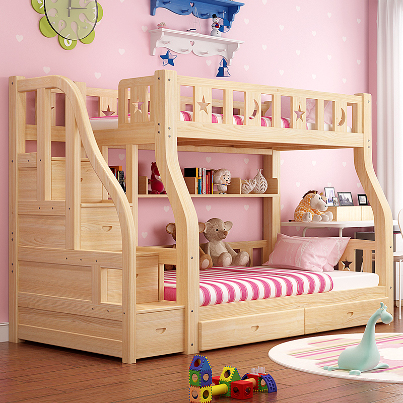 Solid wood bed double bed bed level parent under bed two children bed adult pine mother bed