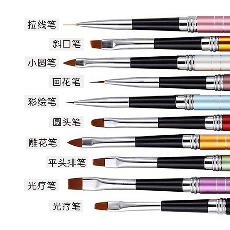 A full set of high-grade Manicure brush suit 10 pack tool mink pen pen pen smear petals cable package mail