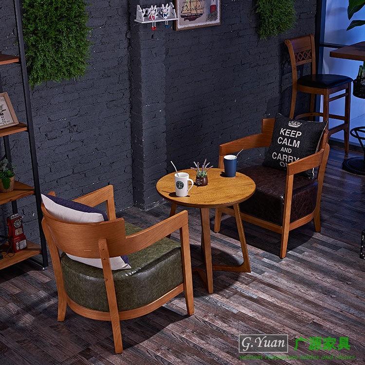 Starbucks Cafe solid wood table chair dessert shop table chair combination leisure bar reception discussion sofa chair