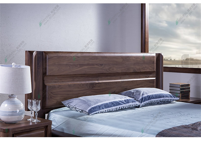 HRYPAL black walnut double 1.8 metres Zhuwo marriage bed bed bed Nordic wood