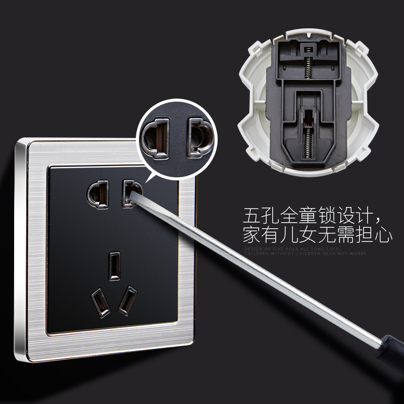 Touch screen light set switch panel, silent smart white big screen, porous single open Nordic stainless steel waterproof