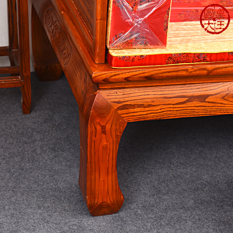 明清アンティーク材の家具パネル彫り草龙羅漢ベッドさん点セット貴妃チェアソファベッド