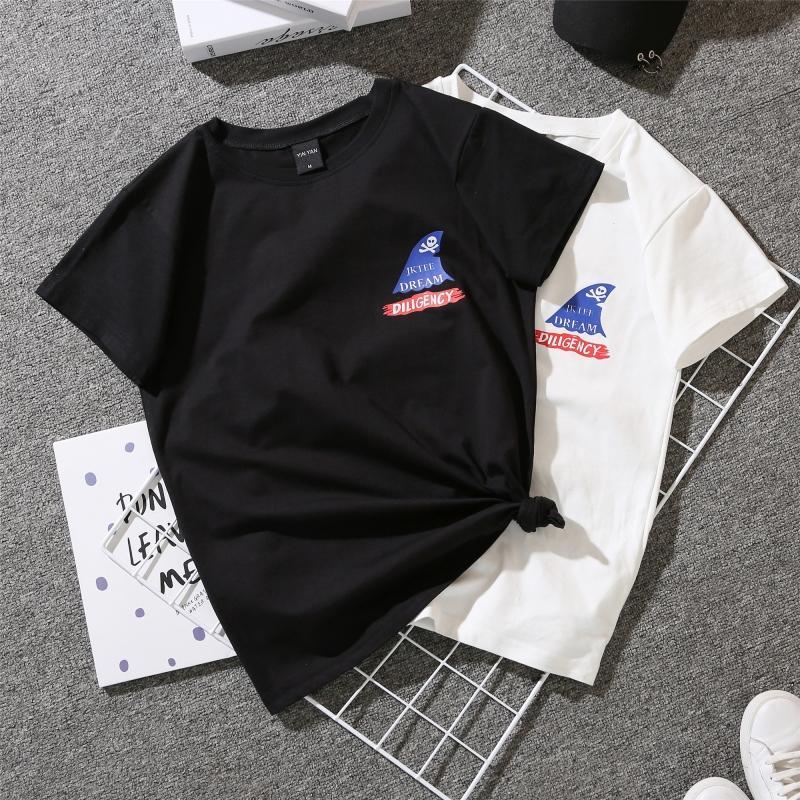 实拍088#情侣装夏装半袖新款2019港味上衣韩版宽松白色短袖T恤