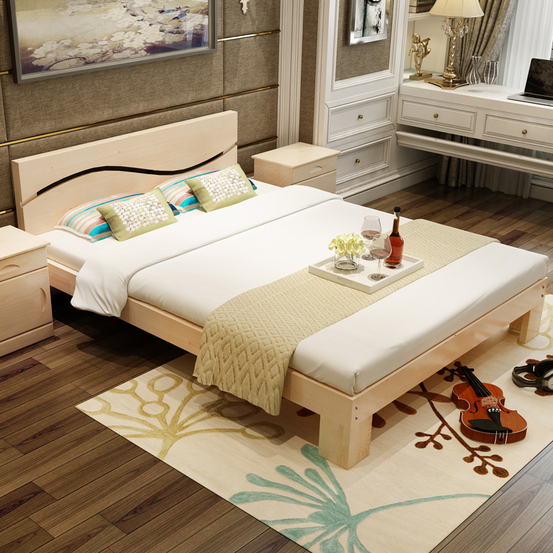 Solid wood bed 1.5 tatami bed 1.8 meters double bed pine 1 meters 1.2 meters of simple single bed bed for children