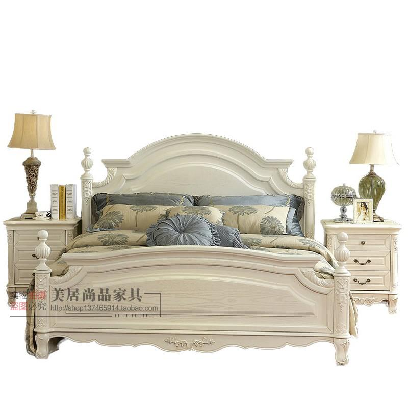 Classic Ivory white, old American country model house, villa furniture, 1.8 meter oak double bed, solid wood bed