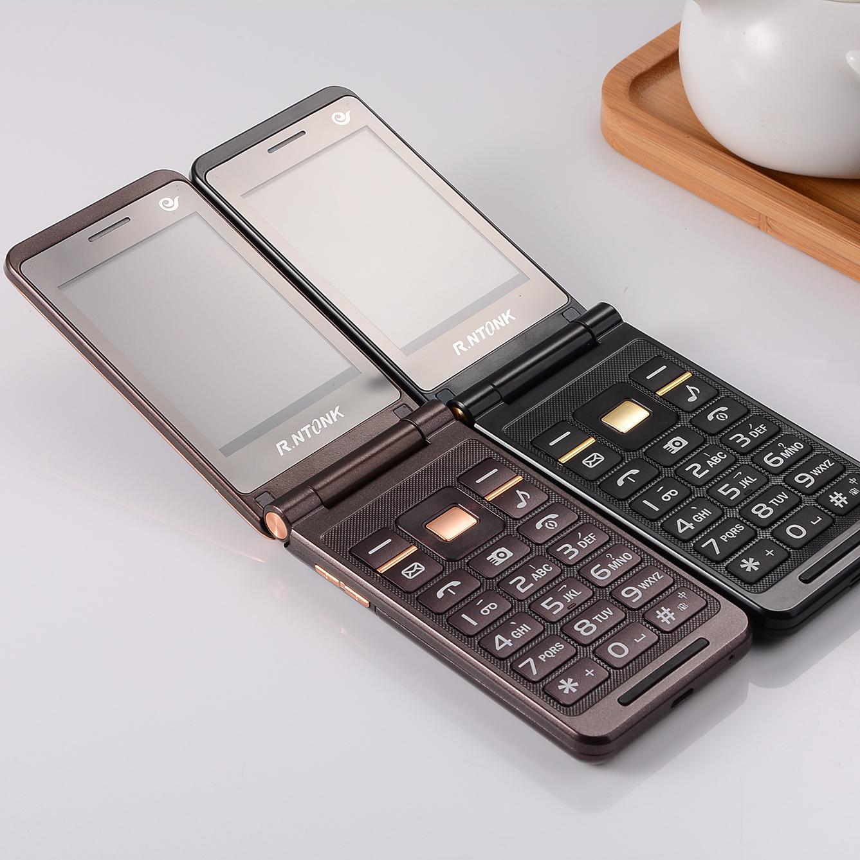 KRTONE /ジンRongtong RTK9フルネットコム古い携帯電話の通信クラムシェルダブルモードの大画面の老人のマシン