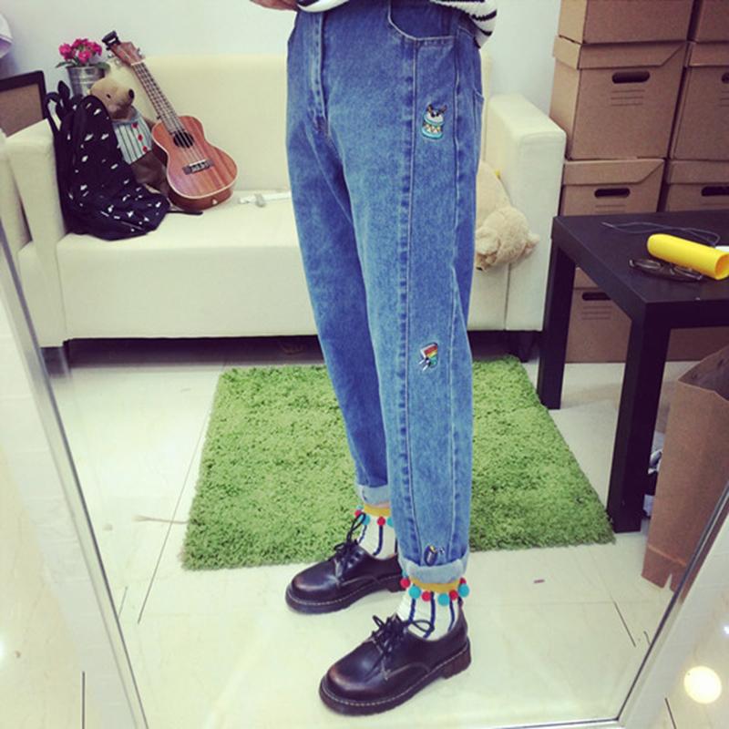 秋裝新款韓版ulzzang卡通彩色刺繡松緊腰牛仔褲女寬松垮褲直筒褲