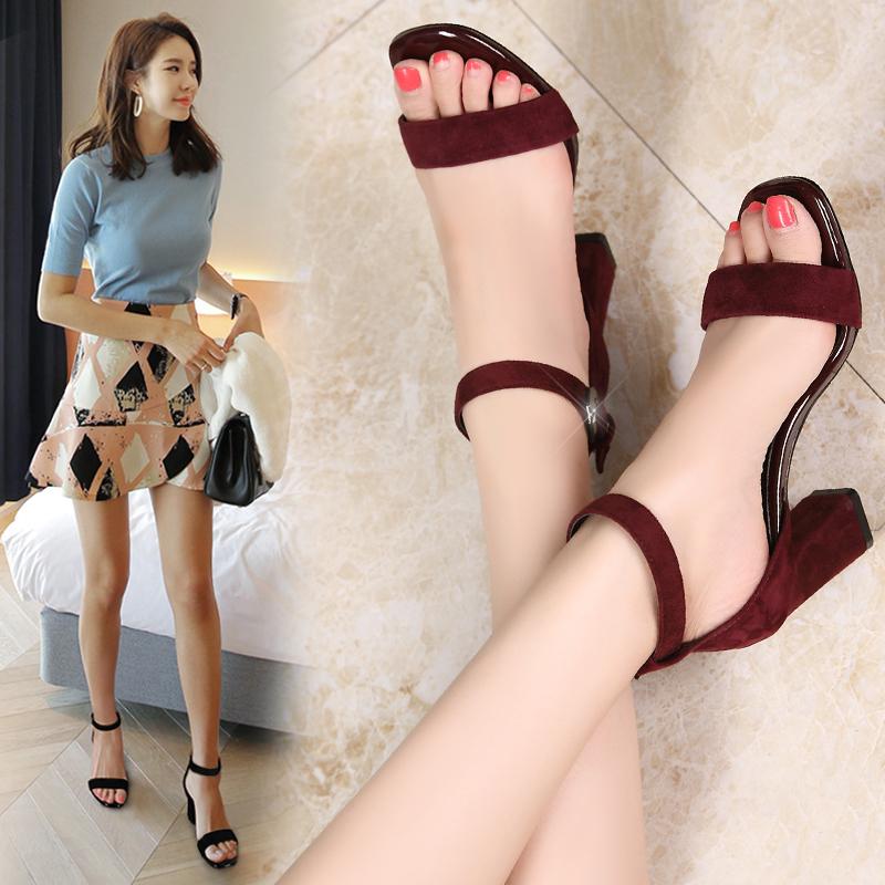 凉鞋女中跟高跟鞋2017新款夏季百搭一字扣带粗跟黑色真皮罗马女鞋