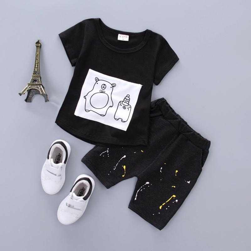 黑色貼布小熊短袖-CC